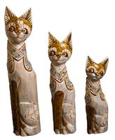 Набор котов с украшением из стекла ( к-974, к-975, к-976)