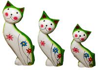 Набор котов улыбающихся с цветами на теле ( к-1010, к-1011, к-1012)