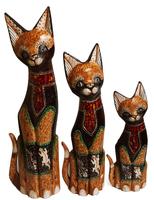 Набор котов коричневый галстук из камня и две ящерицы ( к-980, к-981, к-982)