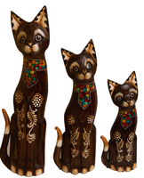 Набор котов коричневый с галстуком из стекла ( к-983, к-984, к-985)