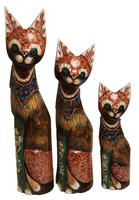 Набор котов на шее ожерелье из цветного стекла ( к-962,к-963, к-964)