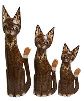 набор котов коричневый с рисунком ожерелья на шее ( к-986, к-987, к-988)