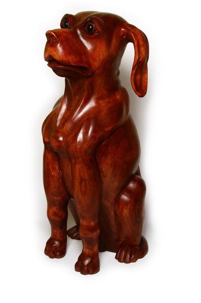 """Собака """"Хатико"""" из мэха (разновидность красного дерева) , (Индонезия), 60 см, 2 цвета (см-67)"""