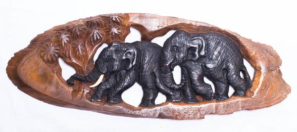 Панно тиковое: 2 слона (пт-119)