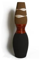 Ваза керамическая с ротангом, сужается и расширяется (вк-123)
