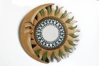Солнышко зеркало Индонезия, месяц и бежево-зелёные лучи, d-50см, 4 цвета (си-233а)