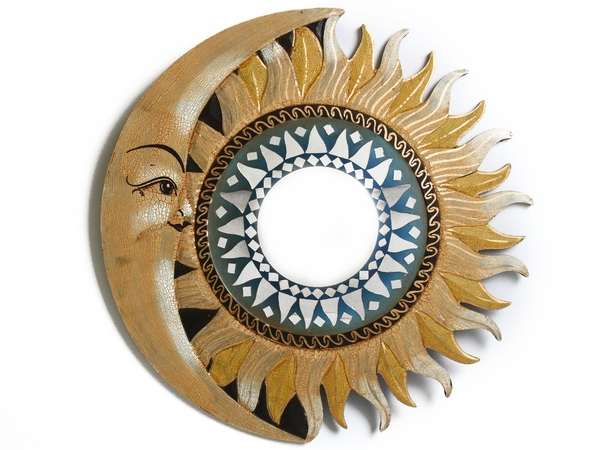 Солнышко зеркало Индонезия, месяц и бежево-жёлтые лучи, 4 цвета (си-232в)