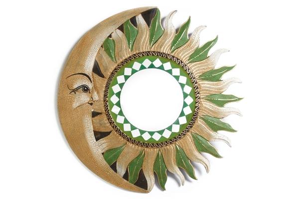 Солнышко зеркало с бежево-зелёными лучами, d-50см (си-235а)