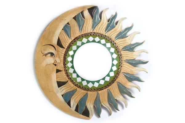Солнышко зеркало с бежево-голубыми лучами, d-50см (си-235б)