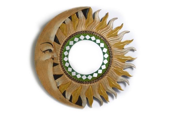 Солнышко зеркало с бежево-жёлтыми лучами, d-50см (си-235в)