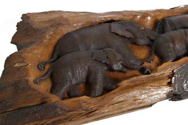 Панно тиковое со слонами, (Таиланд), (пт-131)