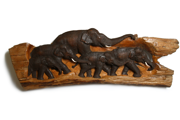 Панно тиковое со слонами, 102х23 см, (Таиланд), (пт-131-1)