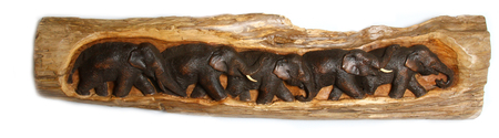Панно тиковое со слонами, (Таиланд), (пт-131-3)