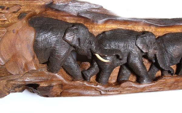 Панно тиковое со слонами, (Таиланд), (пт-131-4)