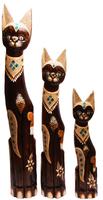 Набор котов с украшениями зеленым стеклом и песком( к-1031,к-1032,к-1033)