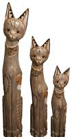 набор котов бежевый с украшением  из камней на шее ( к-1037,к-1038, к-1039)