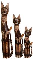 набор котов коричневый с украшением из красного стекла и камня ( к-1028, к-1029, к-1030)