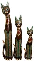 Кот коричневый с рыбой на груди из стекла ( к-938,к-939,к-940)